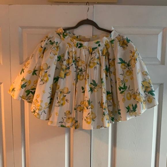 White & Yellow Lemon Puff Mini Skirt